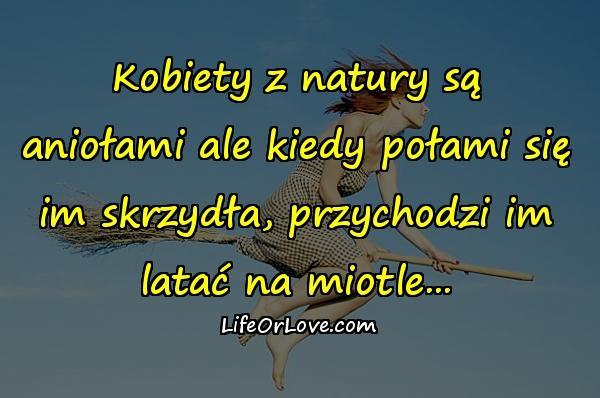 Kobiety z natury są aniołami ale kiedy połami się im skrzydła, przychodzi im latać na miotle...