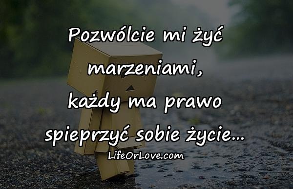 Pozwólcie mi żyć marzeniami, każdy ma prawo spieprzyć sobie życie...