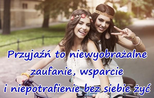 Przyjaźń to niewyobrażalne zaufanie, wsparcie i niepotrafienie bez siebie żyć.
