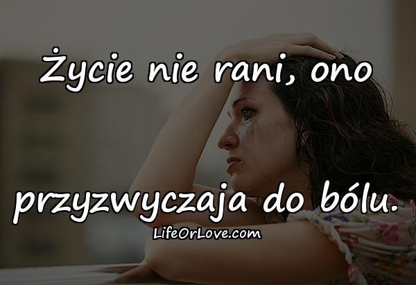 Życie nie rani, ono przyzwyczaja do bólu.